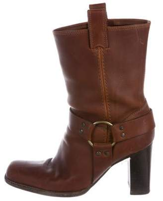 Michael Kors Leather Round-Toe Ankle Boots Brown Leather Round-Toe Ankle Boots