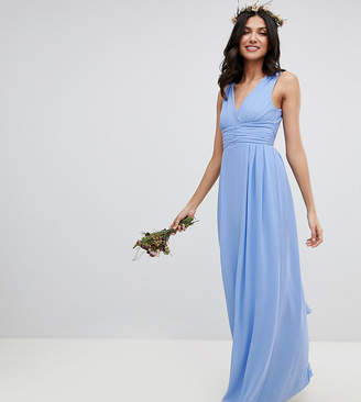 TFNC Tall Tall Wrap Front Maxi Bridesmaid Dress With Tie Back