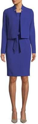 Albert Nipon Belted Sheath Dress W/Matching Jacket