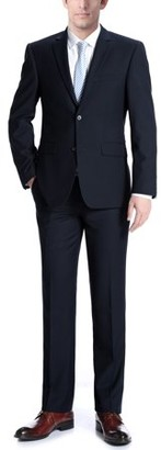 Verno Albani Big Men's Dark Navy Classic Fit Italian Styled Two Piece Suit