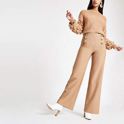 Womens Tan wide leg button detail trousers