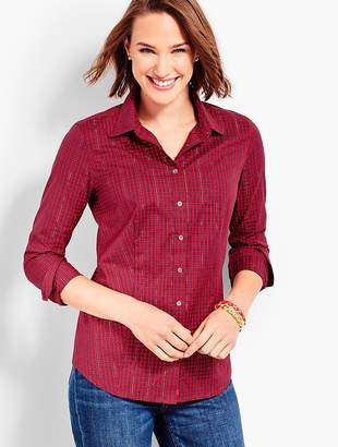 Talbots Classic Button-Front Wrinkle-Resistance Shirt - Shimmering Plaid