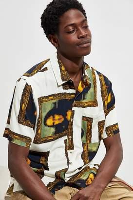Urban Outfitters Pixel Art Rayon Short Sleeve Button-Down Shirt