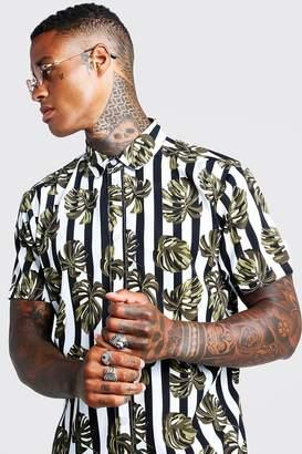 boohoo Palm Stripe Print Oversized Shirt