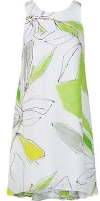 Milly Trapeze Printed Silk-Crepe Mini Dress