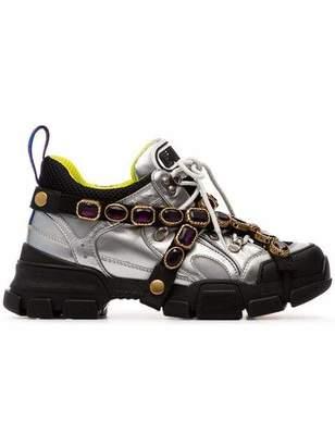 Gucci Flashtrek Bejeweled Metallic Sneakers