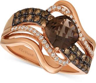 LeVian Le Vian Chocolatier® Chocolate Quartz® (1-1/4 ct. t.w.) & Diamond (1/2 ct. t.w.) Twist Ring in 14k Rose Gold