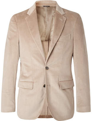 Loro Piana Beige Andorra Slim-fit Stretch-cotton And Cashmere-blend Corduroy Blazer - Beige