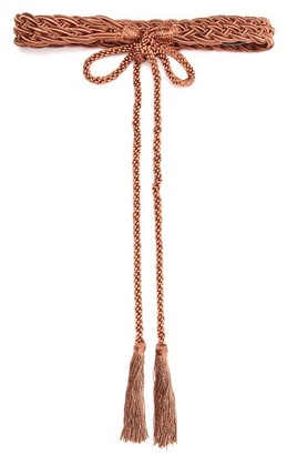 Thierry Colson Braided Tassel Trimmed Satin Belt - Womens - Brown