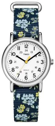 Timex Weekender Slip Thru Floral Nylon Strap Watch - Blue T2P370JT $39.99 thestylecure.com