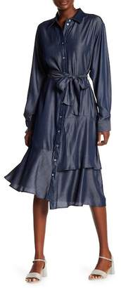 Couture Go Modest Ruffle Bottom Chambray Tie Dress