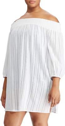 Lauren Ralph Lauren Plus Off-The-Shoulder Cotton Coverup