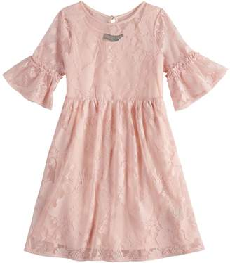 Girls 7-16 Three Pink Hearts Lace Overlay Dress