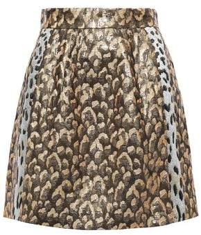 Dolce & Gabbana Metallic Leopard-jacquard Mini Skirt