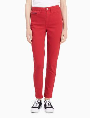 Calvin Klein skinny fit high rise tango red ankle jeans
