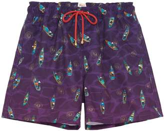 Mazu 'Sampans at Twilight' graphic print swim shorts