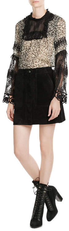 Anna SuiAnna Sui Printed Silk Tunic with Lace