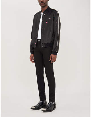 Saint Laurent Galaxy-print satin teddy jacket