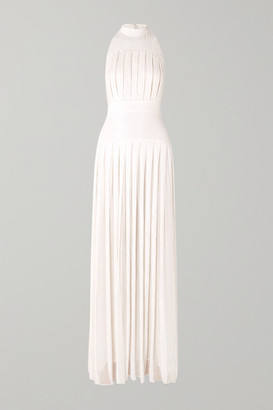 Temperley London Pleated Sequined Chiffon Gown - White