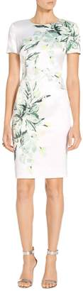 St. John Painted Leaves Print Dress