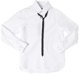 Neil Barrett Tie Print Cotton Poplin Shirt