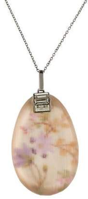 Alexis Bittar Print Lucite & Crystal Pendant Necklace