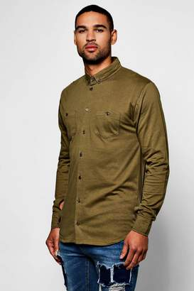 boohoo Long Sleeve Double Pocket Jersey Shirt