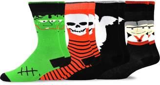 TeeHee Socks TeeHee Novelty Young Men Halloween Fun Crew Socks 4-Pack