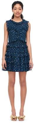 Rebecca Taylor Speckled Dot Metallic Clip Ruffle Dress