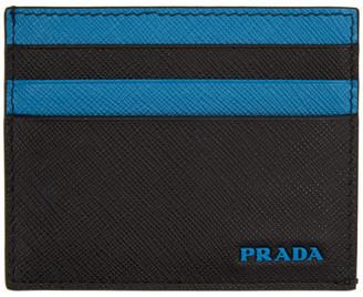 bbf9c2230a67 Prada Black and Blue Logo Card Holder