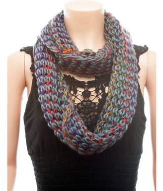 Celik Women's Infiniti Scarves Multi Colored Knitted and Braided Design