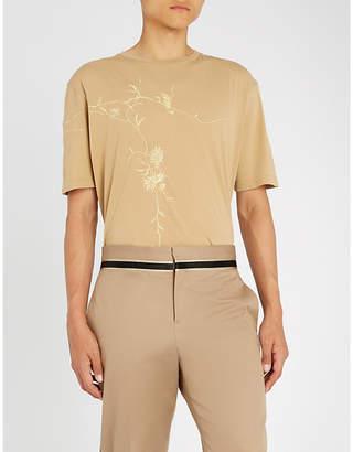 Haider Ackermann Awuna metallic-embroidered cotton-jersey T-shirt