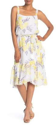 Robbie Bee Chiffon Floral Print Flounce Dress