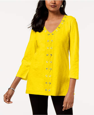 JM Collection Petite Cotton Grommet-Laced Tunic