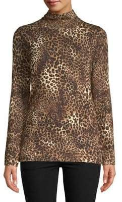 Context Leopard Print Turtleneck Sweater