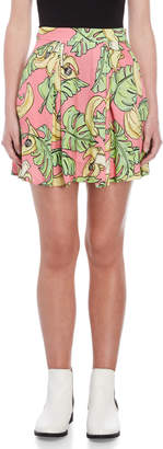 Love Moschino Printed Pleated Skater Skirt