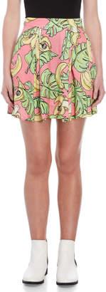 Love Moschino Printed Pleated Skater Skirt