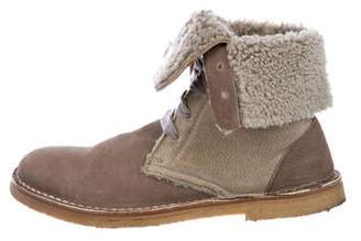 Brunello Cucinelli Suede Shearling-Lined Boots