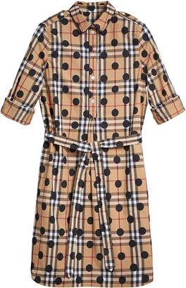 Burberry polka-dot check print tunic dress