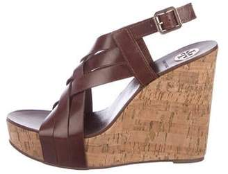 a234488d8110a2 Tory Burch Leather Peep-Toe Wedge Sandals
