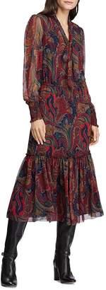 Ralph Lauren Paisley Print Georgette Midi Dress