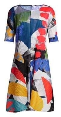 Pleats Please Issey Miyake Women's Laughing Rope Short Sleeve Shift Dress - Light Grey - Size 3 (Medium)