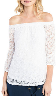 Kensie Off-The-Shoulder Lace Top $49 thestylecure.com