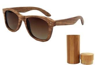 eeb73a9c6d7d Kedera Wood Sunglasses with Polarized Lens - Natural Striped Wood Frame  Sunglasses with Wooden Box (