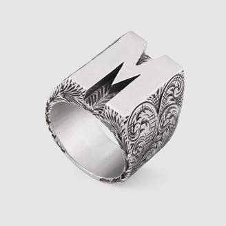 "Gucci ""M"" letter ring in silver"