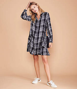 Lou & Grey Cozy Plaid Pocket Shirtdress
