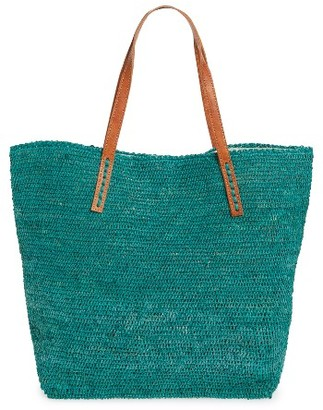 Mar Y Sol 'Portland' Packable Raffia Tote - Blue/green $139 thestylecure.com