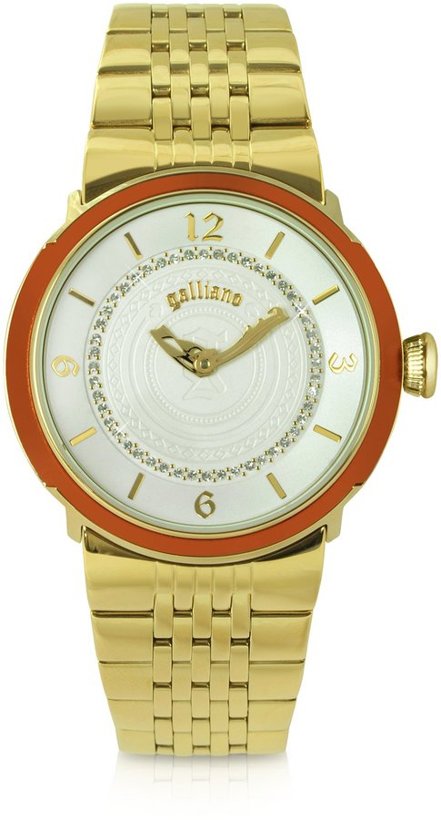 John Galliano Lady - Orange and Goldtone Bracelet Watch