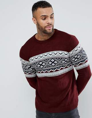 Pull&Bear Fair Isle Sweater In Burgundy