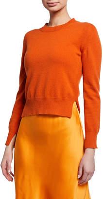 Rosetta Getty Cropped Wool-Cashmere Slit-Hem Sweater